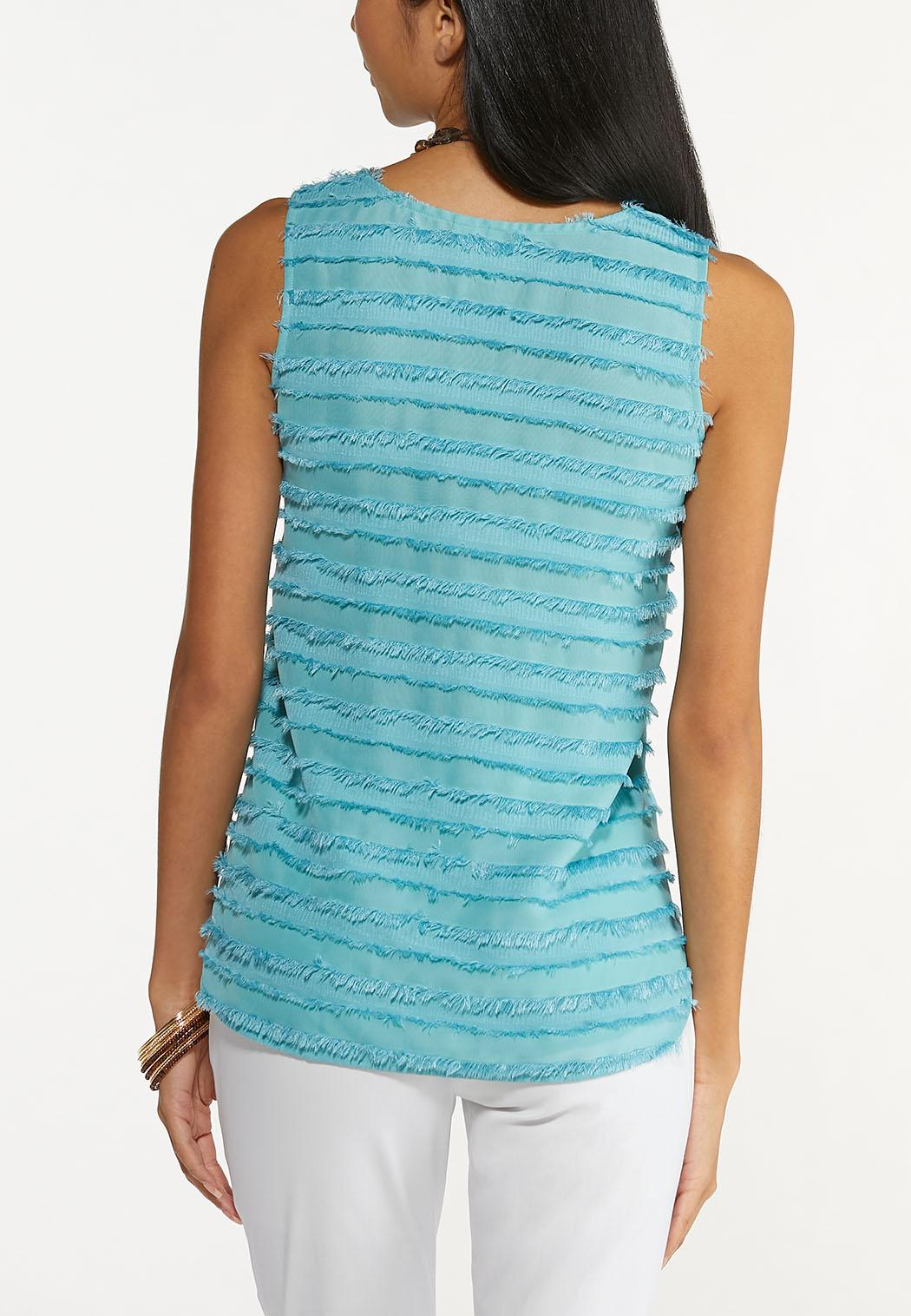 Plus Size Solid Frayed Tank (Item #44654464)