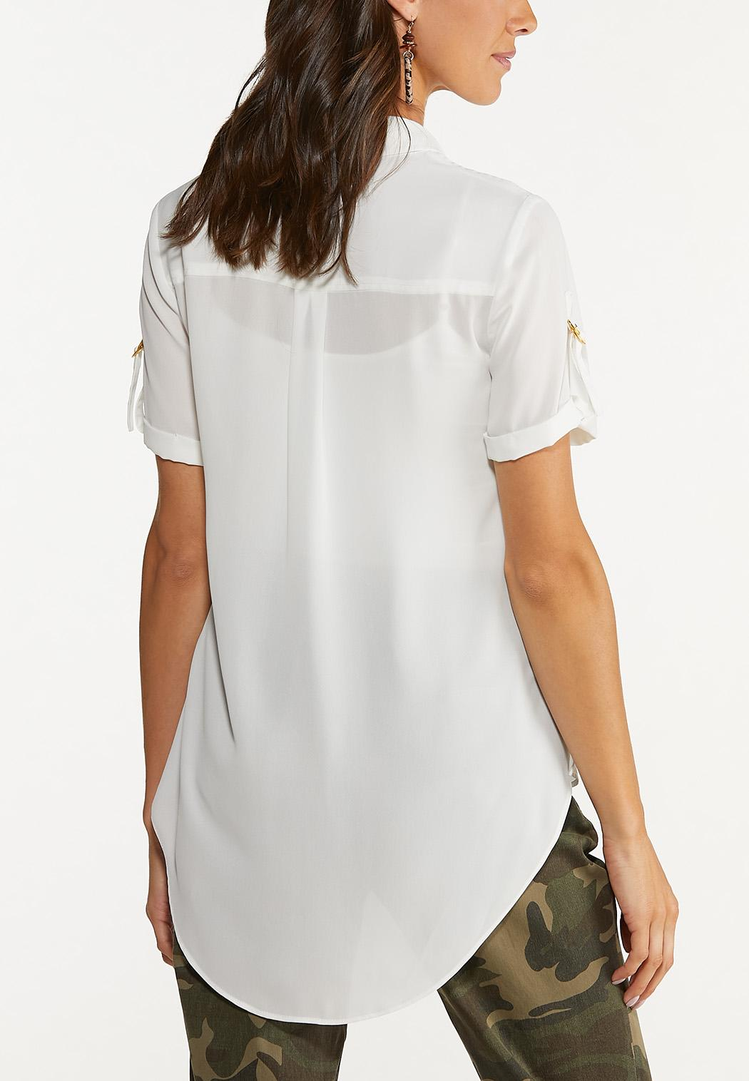 Plus Size Solid High-Low Top (Item #44654801)