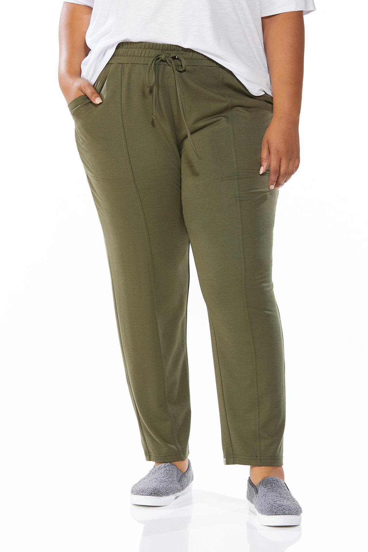 Plus Size Soft Olive Pants (Item #44655280)
