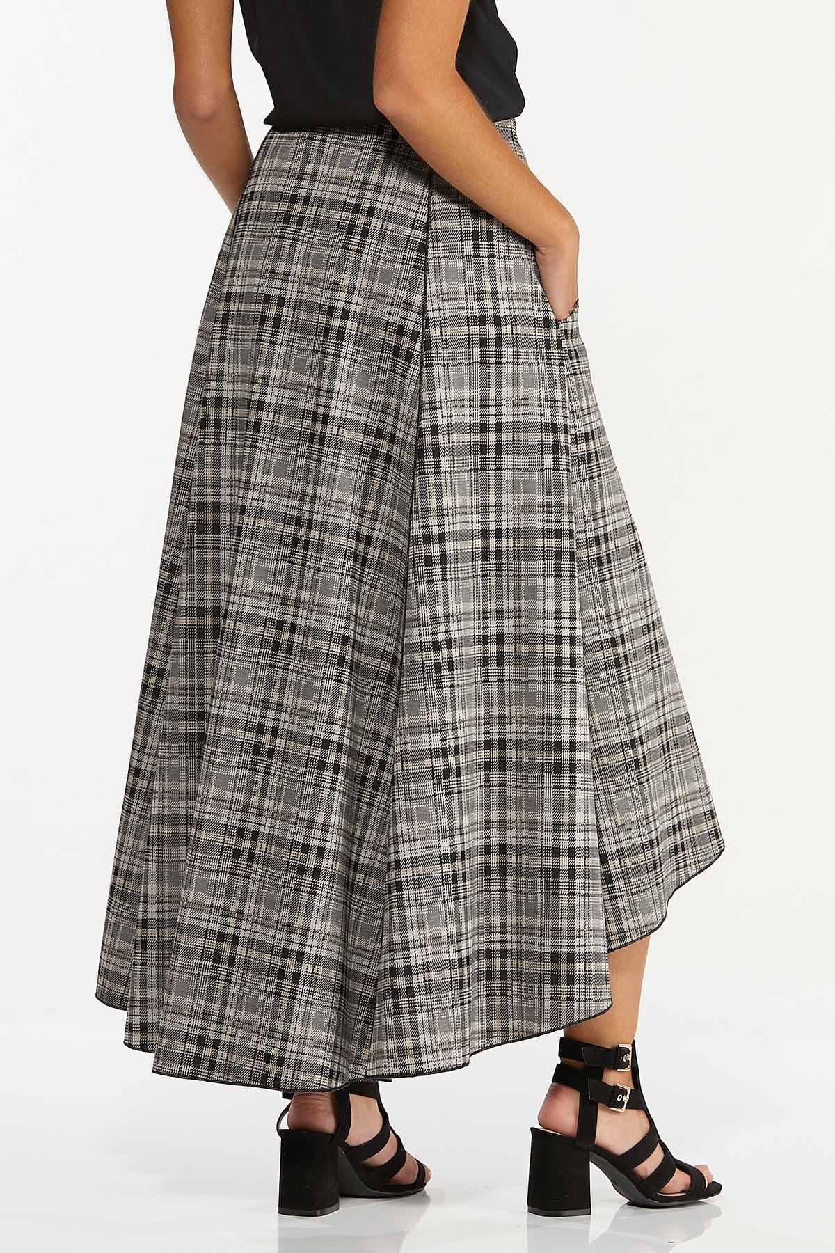 Plus Size Plaid High-Low Maxi Skirt (Item #44655380)