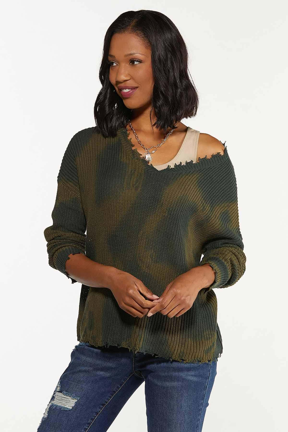 Distressed Camo Dye Sweater (Item #44655550)