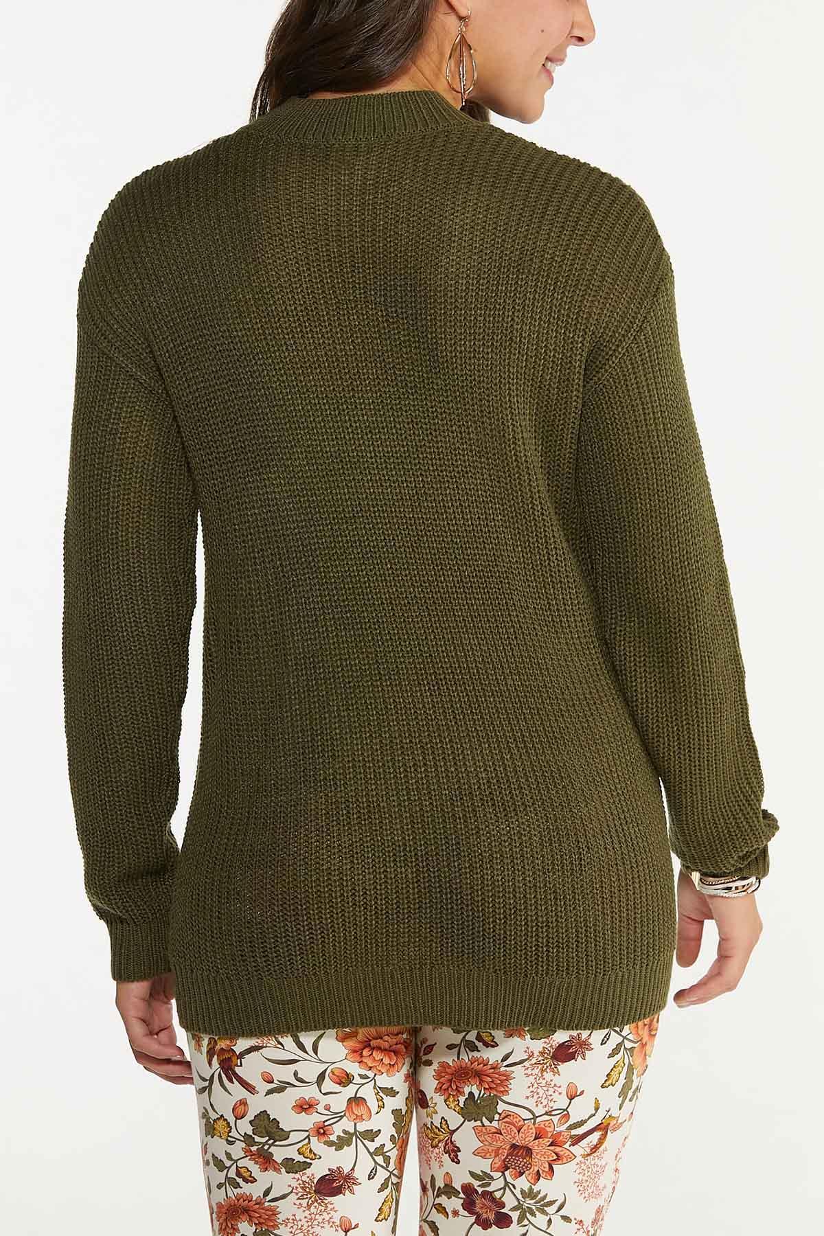 Plus Size Olive Cutout Sweater (Item #44655670)