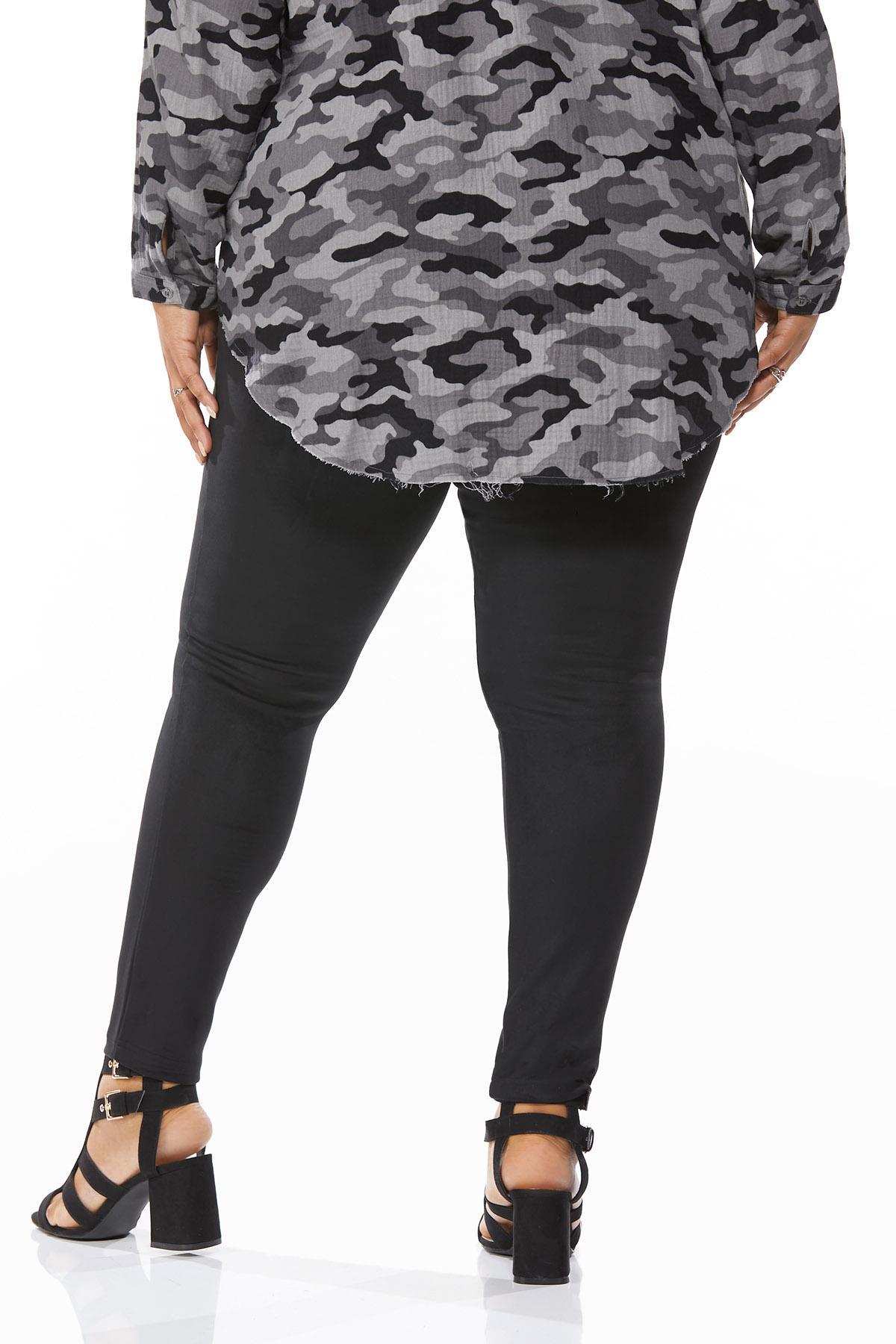 Plus Size Faux Suede Leggings (Item #44655788)
