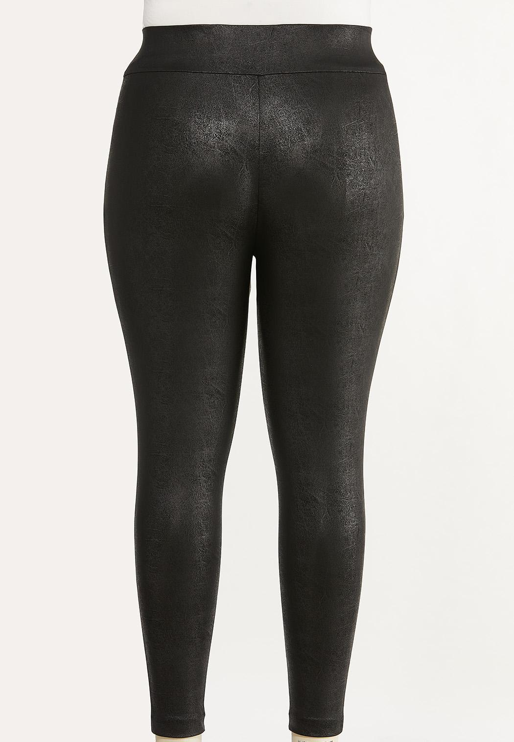 Plus Size Solid Coated Leggings (Item #44655912)