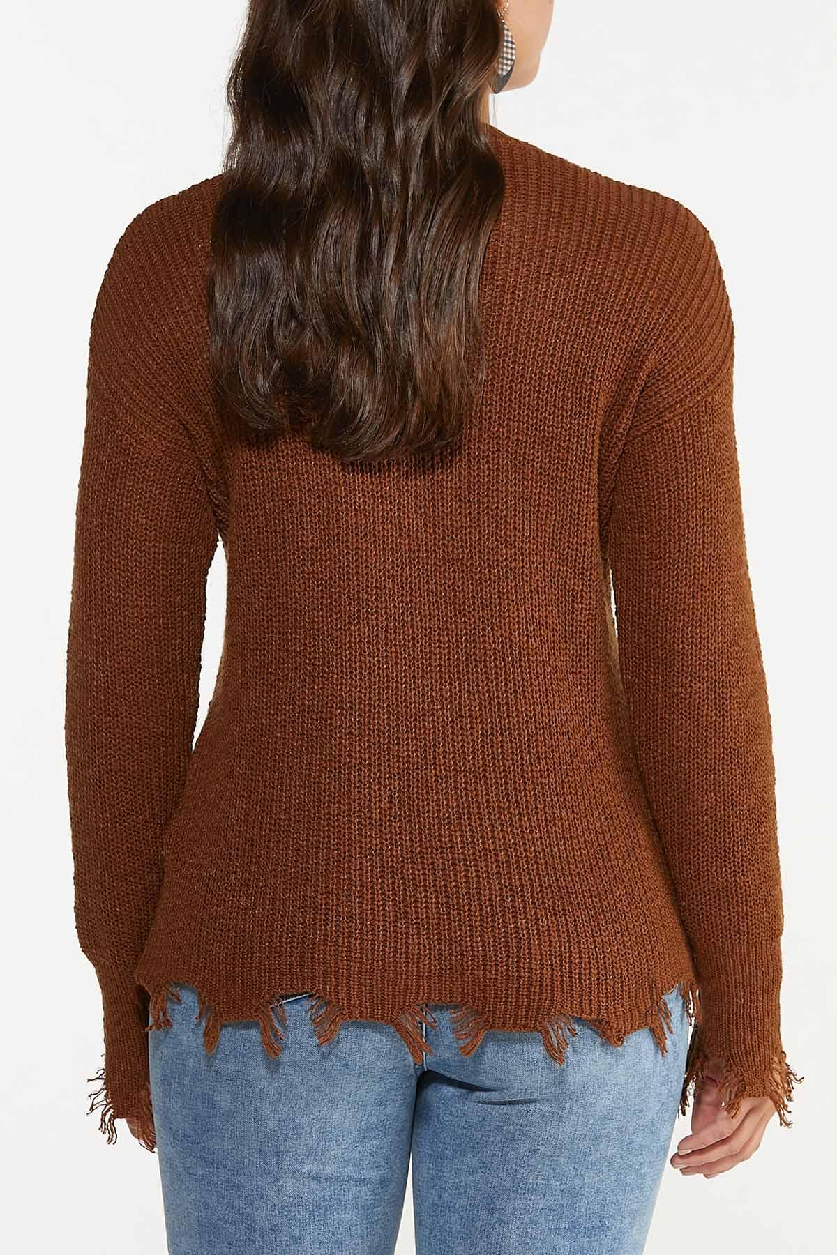 Disressed V-Neck Sweater (Item #44655982)