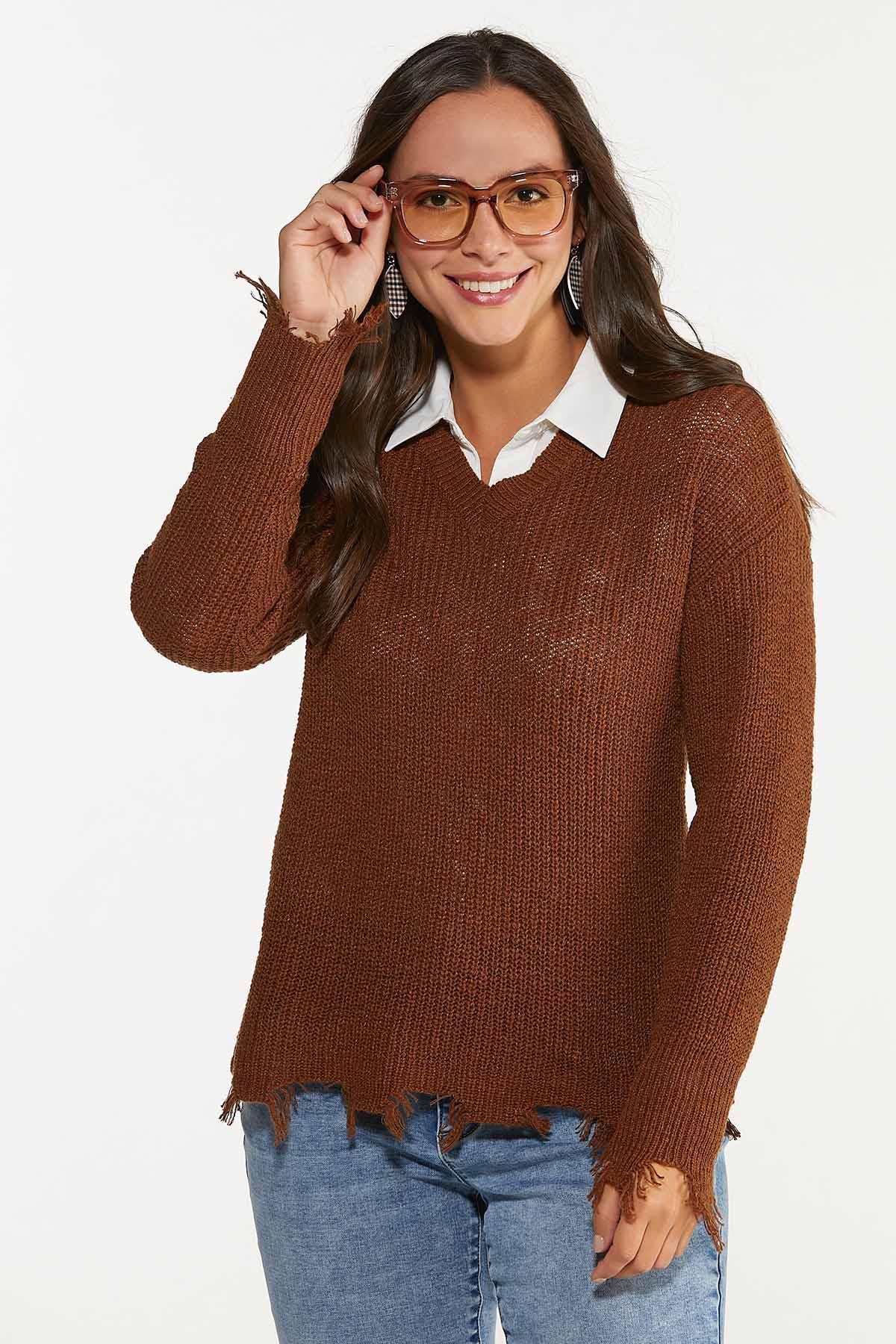 Plus Size Distressed V-Neck Sweater (Item #44656049)