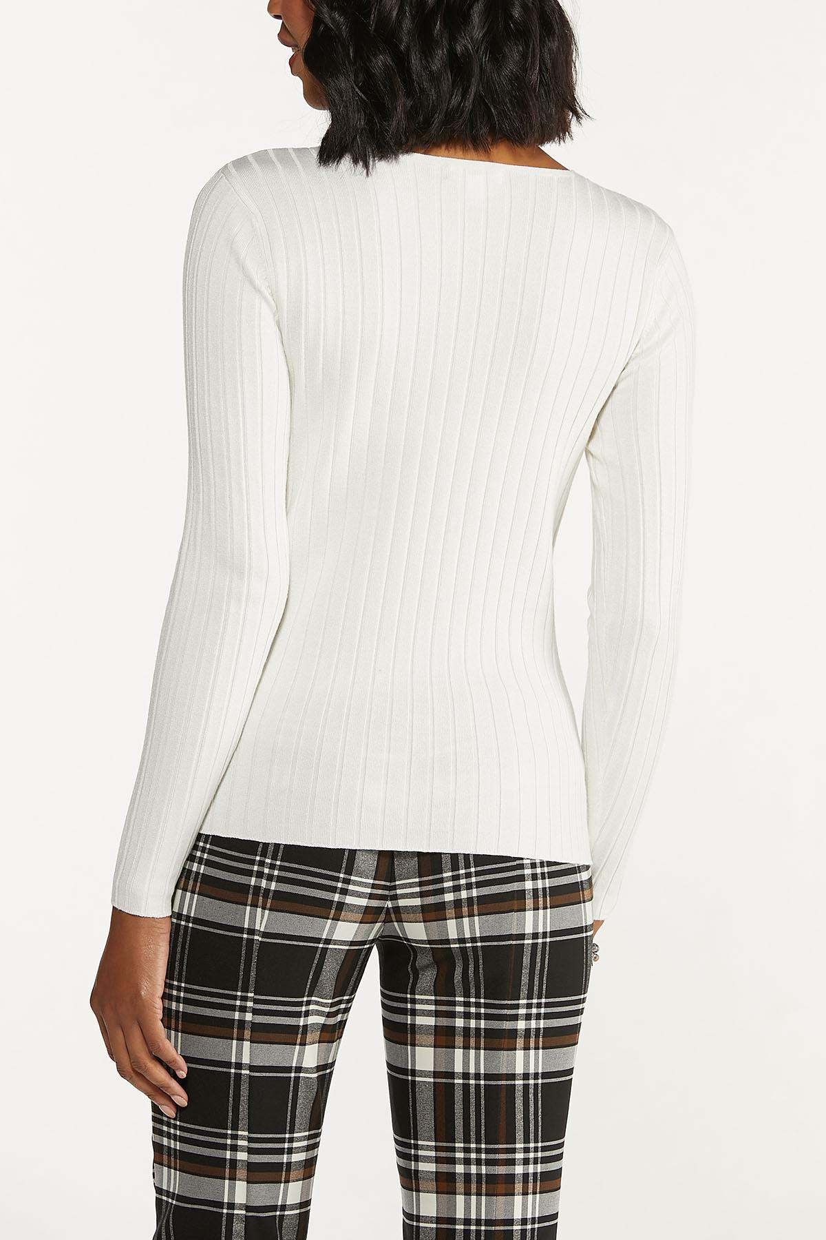 Ribbed V-Neck Sweater (Item #44656211)