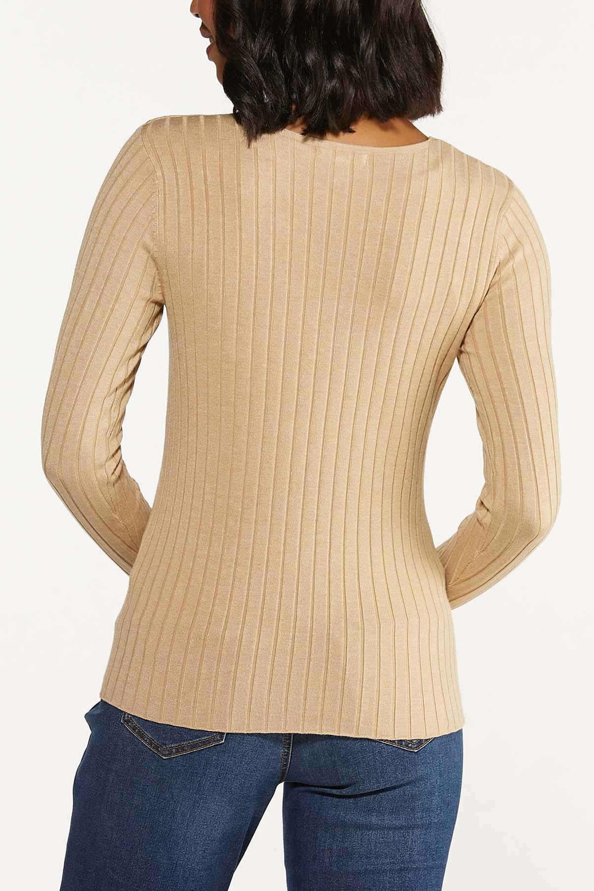 Plus Size Ribbed V-Neck Sweater (Item #44656231)