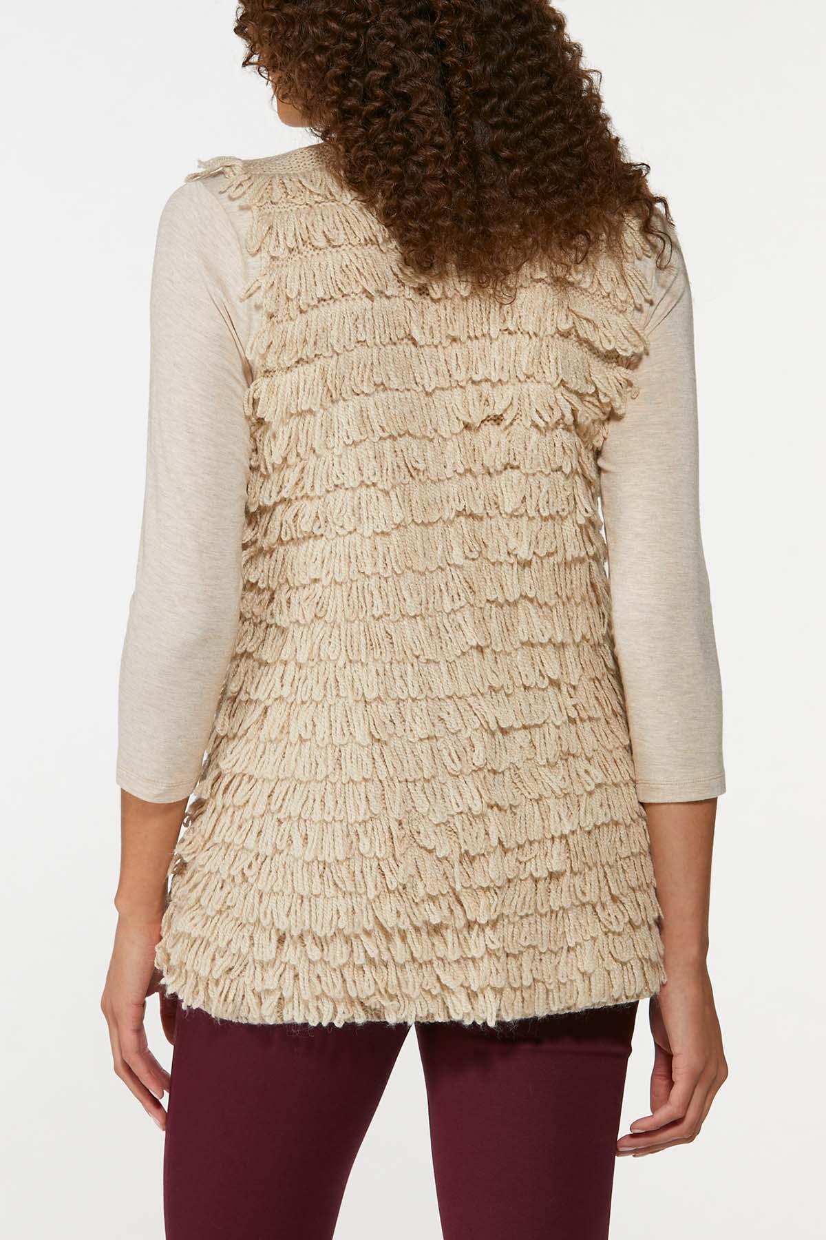Plus Size Loop Fringe Sweater Vest (Item #44656321)