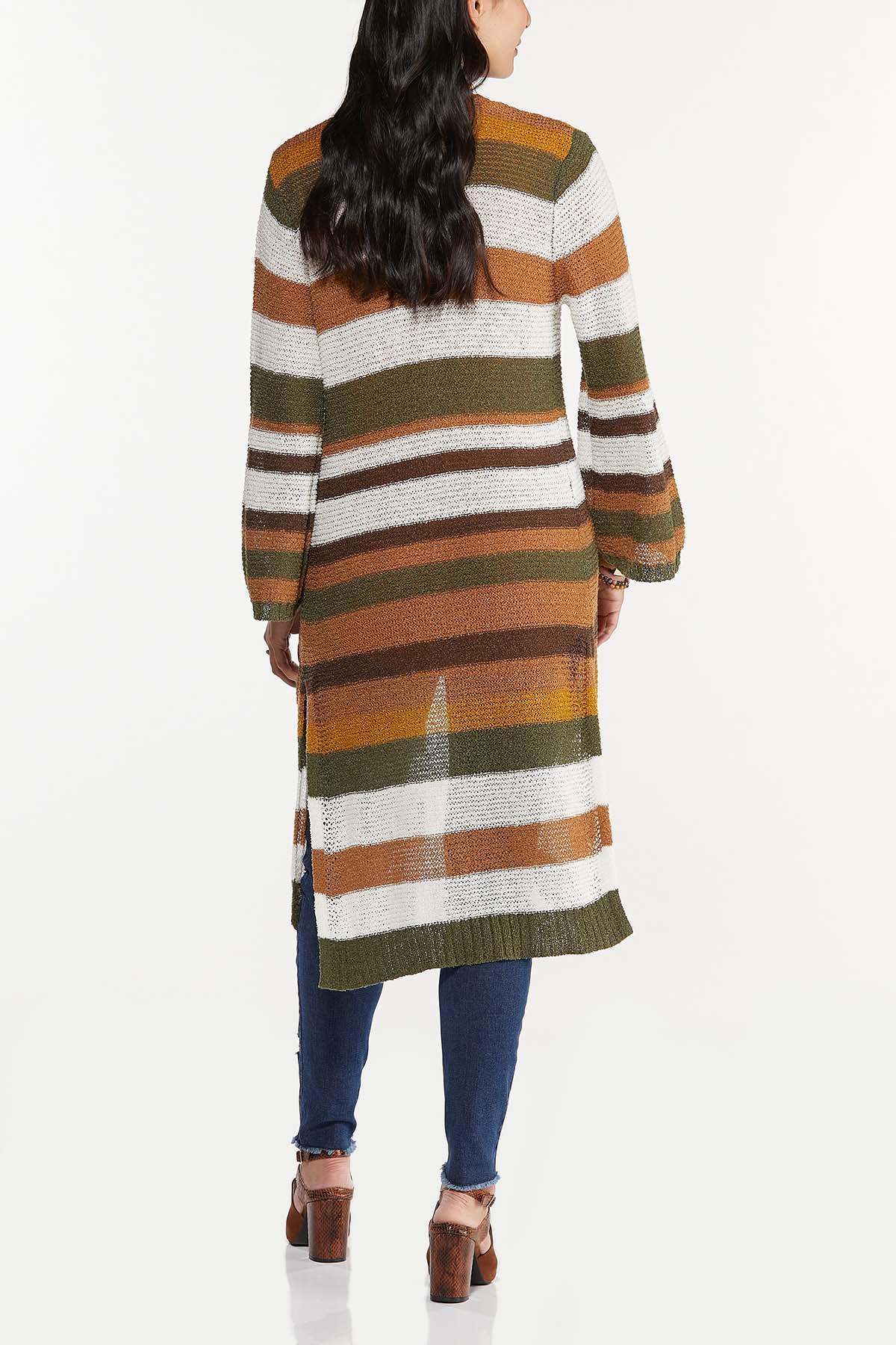 Plus Size Stripe Open Stitch Cardigan (Item #44656349)