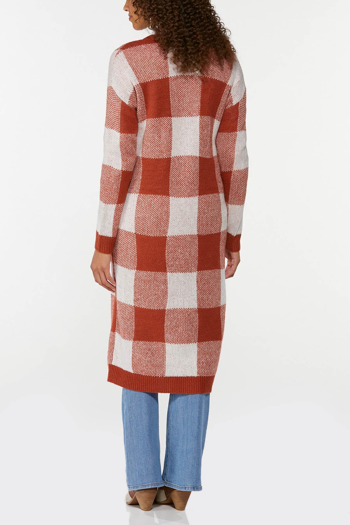 Plus Size Amber Plaid Cardigan Sweater (Item #44656374)