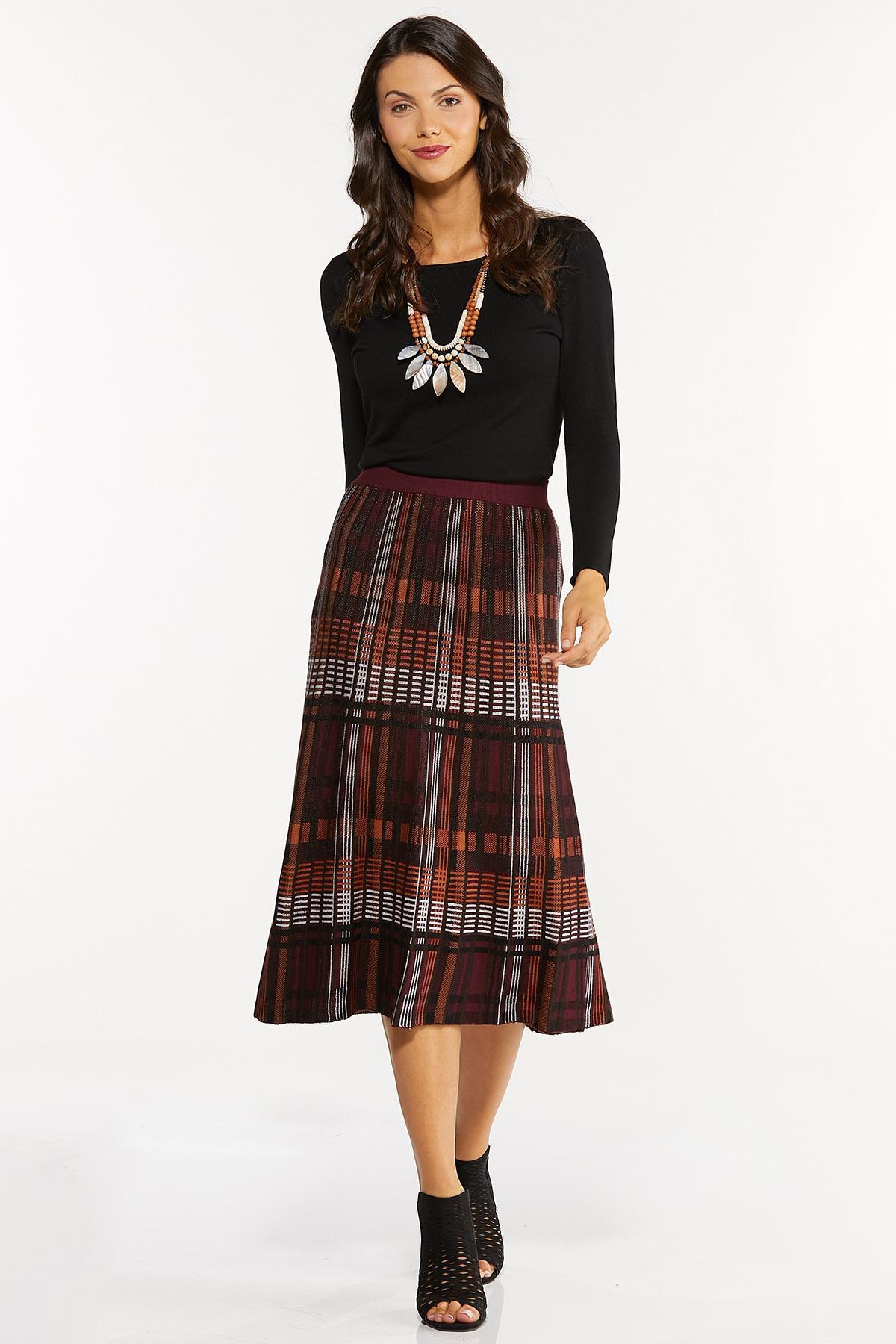 Plaid Sweater Midi Skirt (Item #44656469)