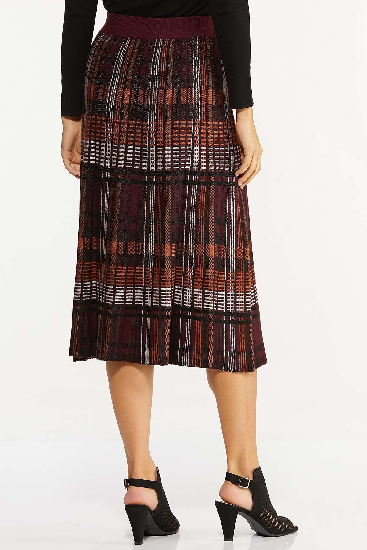 Plus Size Plaid Sweater Midi Skirt (Item #44656497)