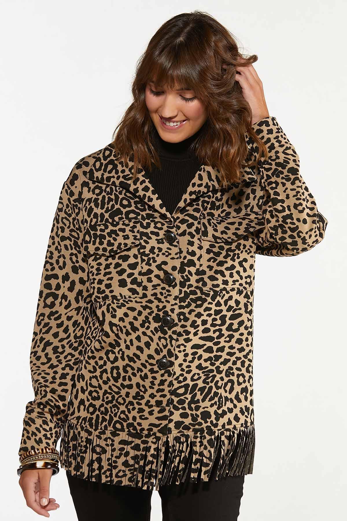 Plus Size Leopard Fringe Shacket (Item #44656541)