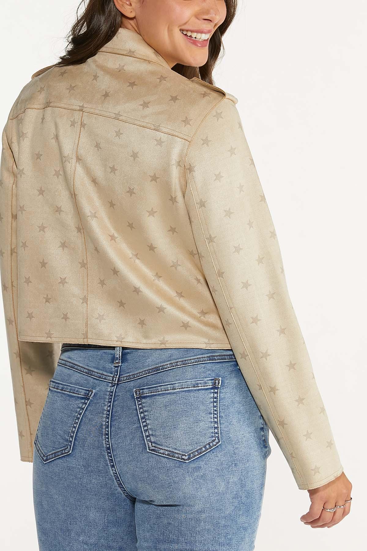 Plus Size Faux Suede Star Jacket (Item #44656639)