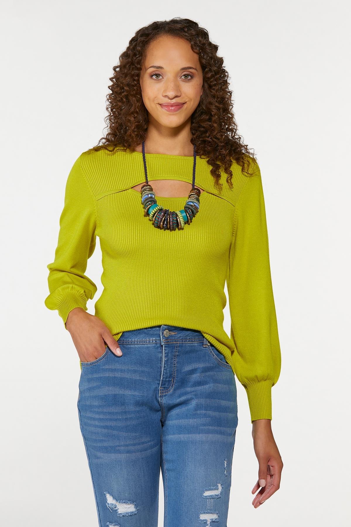 Plus Size Cutout Ribbed Sweater (Item #44656848)