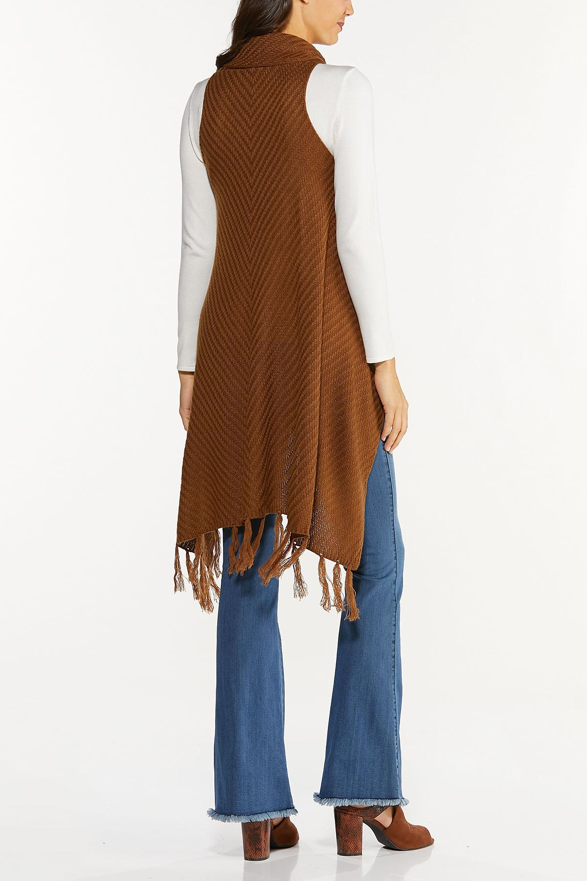 Plus Size Fringed Sleeveless Cardigan Sweater (Item #44656945)