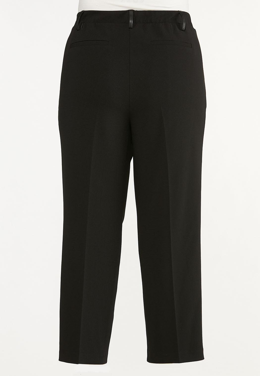 Plus Size Faux Leather Panel Pants (Item #44657503)