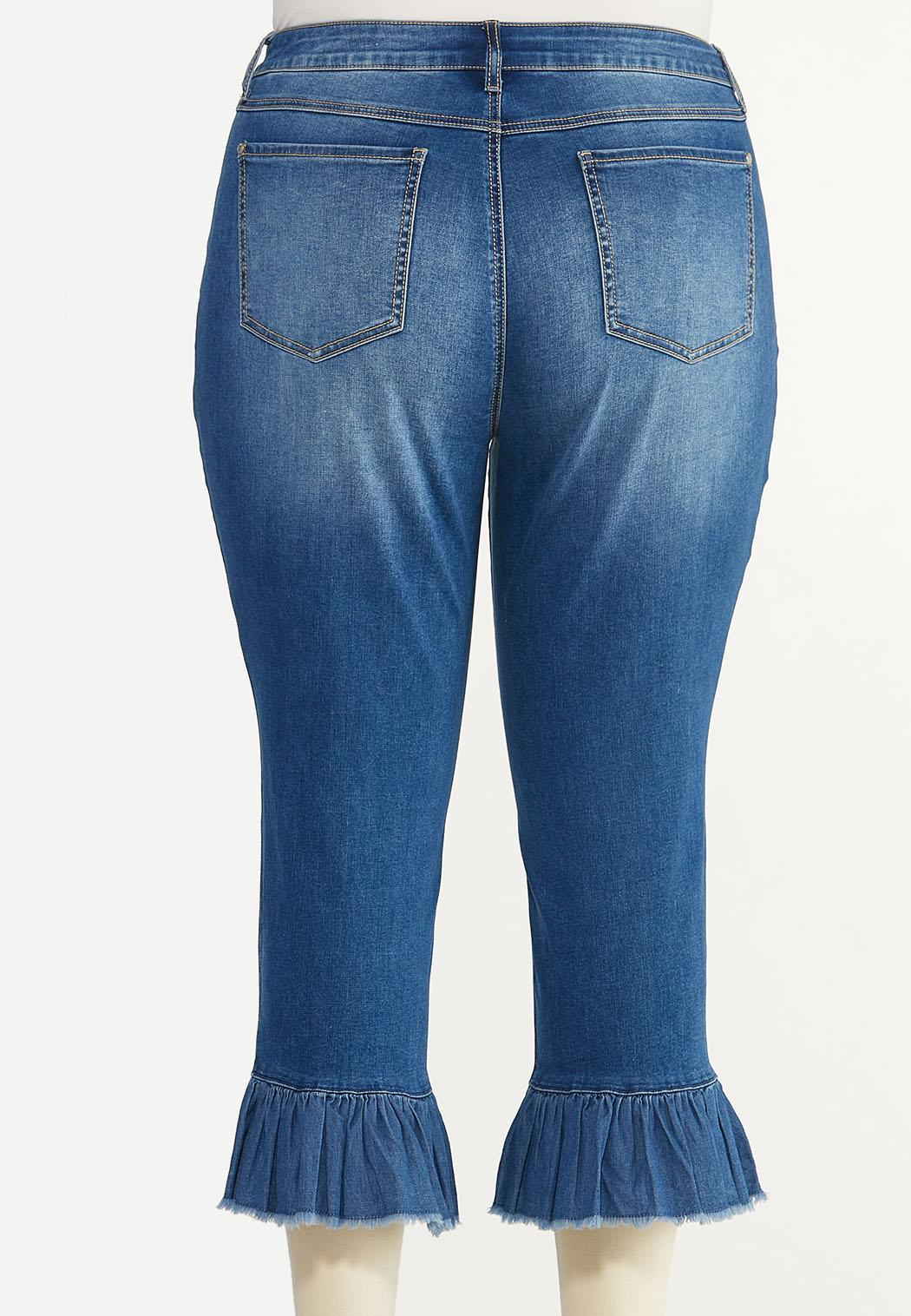 Plus Size Cropped Ruffled Jeans (Item #44657984)