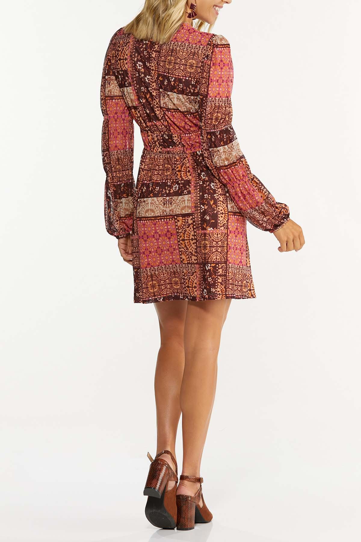 Plus Size Patchwork Medallion Babydoll Dress (Item #44658300)