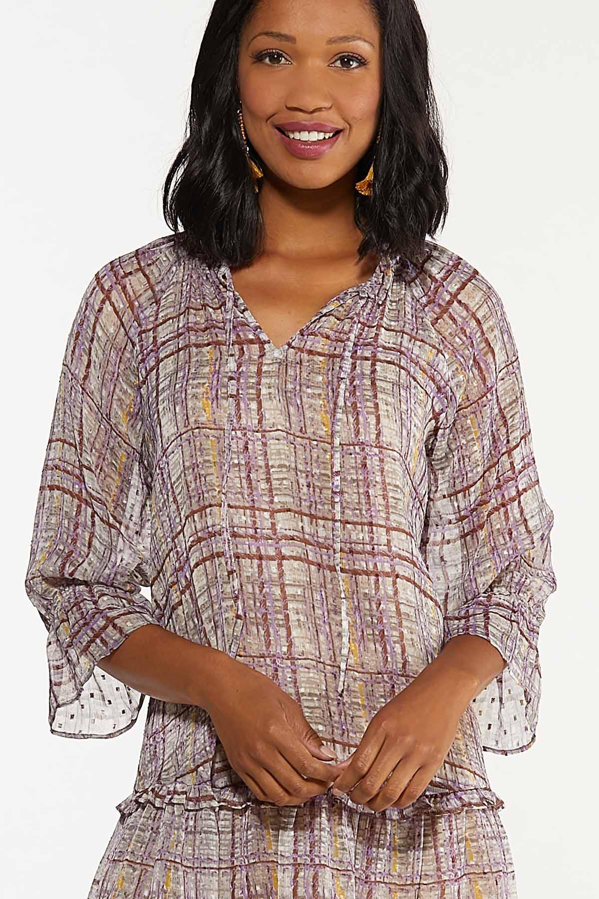 Ruffled Sheer Plaid Dress (Item #44658308)