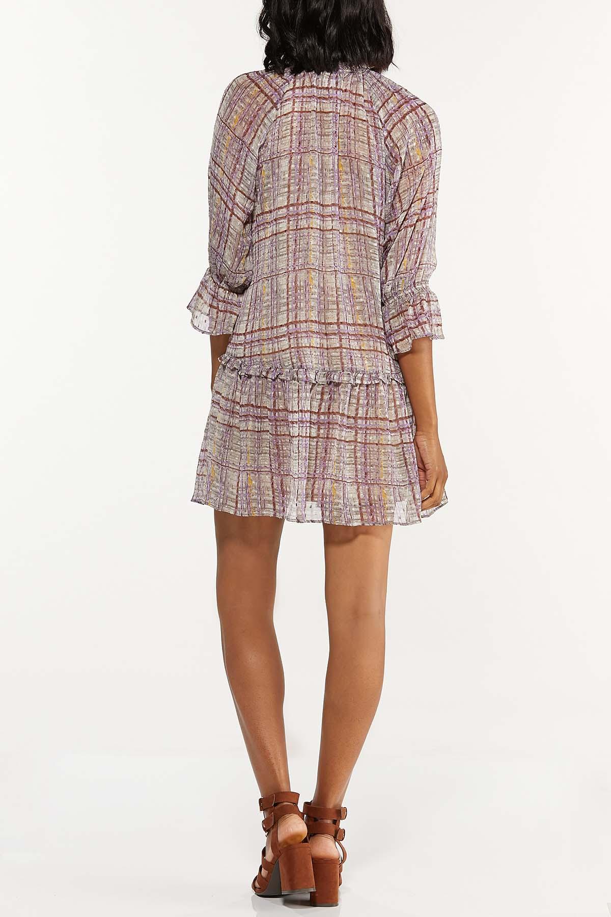 Plus Size Ruffled Sheer Plaid Dress (Item #44658331)