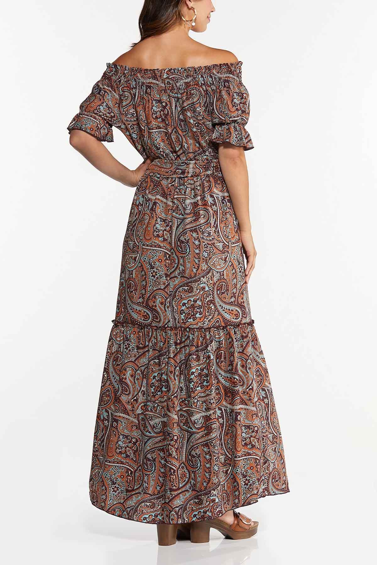 Petite Smocked Off Shoulder Maxi Dress (Item #44658372)