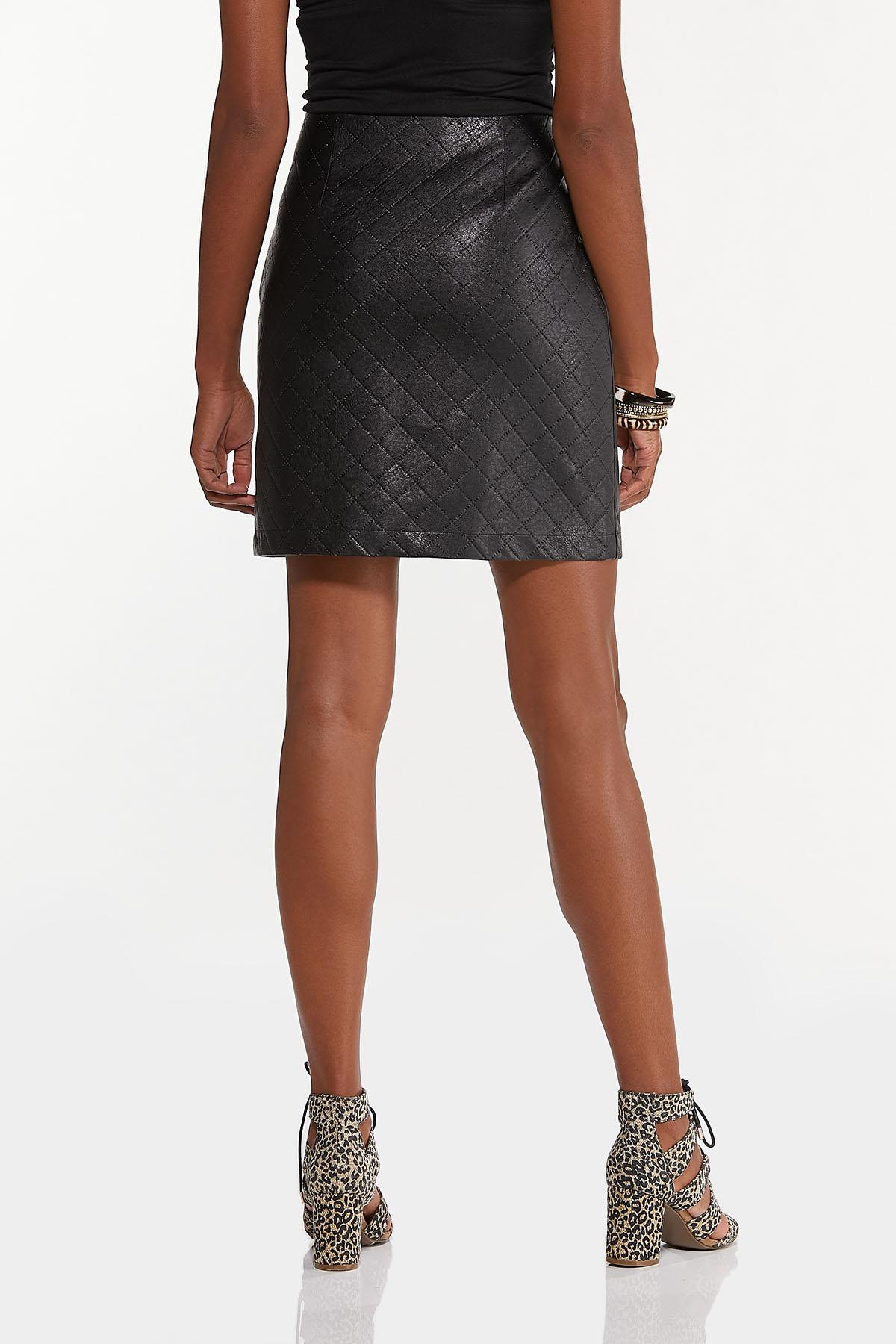 Quilted Faux Leather Skirt (Item #44658527)
