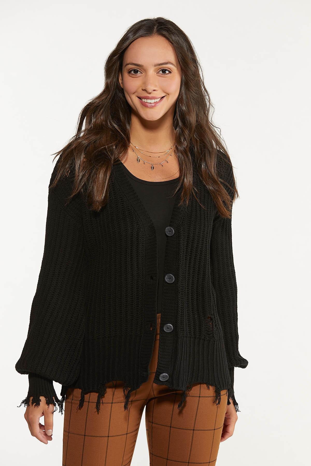 Distressed Cardigan Sweater (Item #44659102)