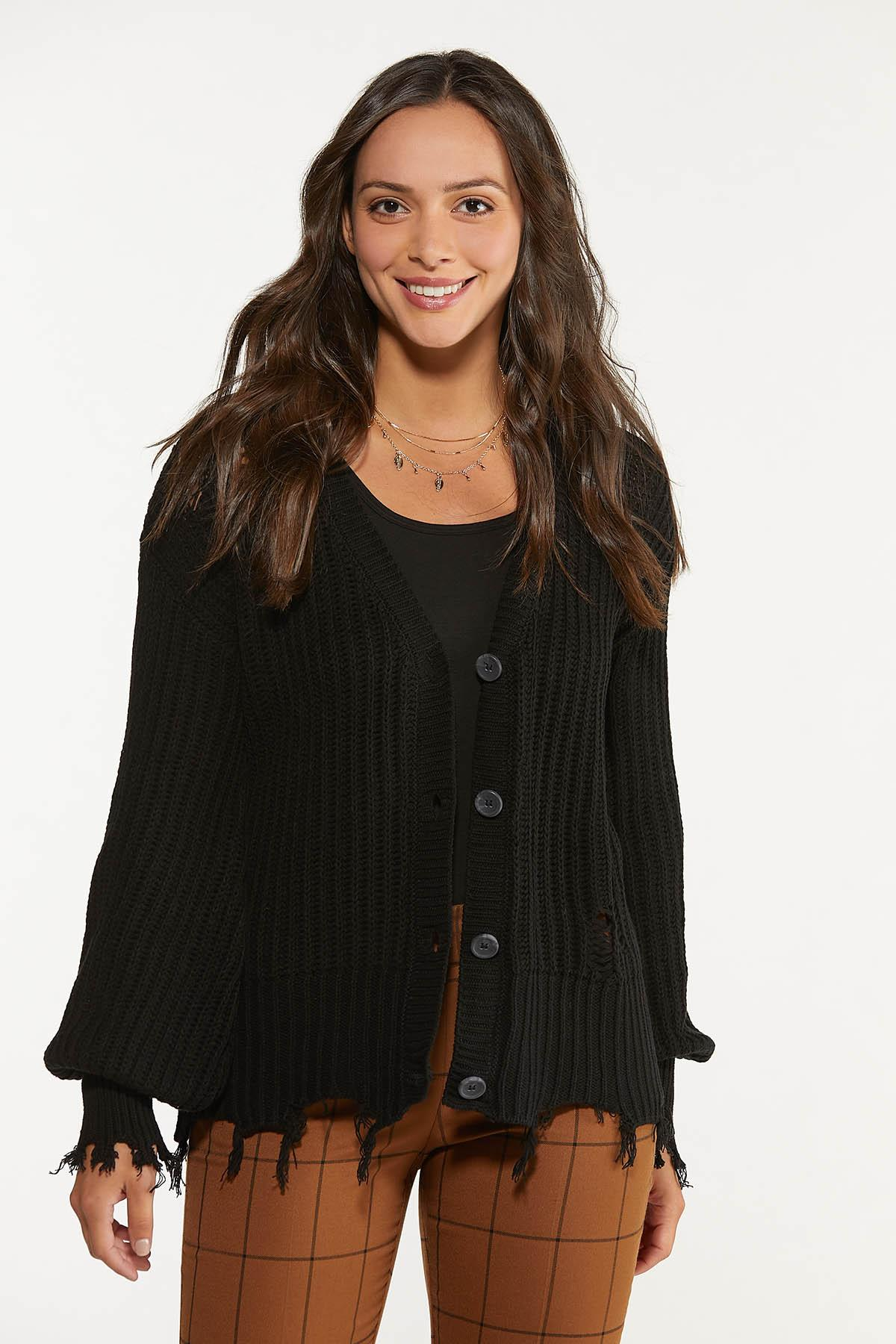 Plus Size Distressed Cardigan Sweater (Item #44659125)