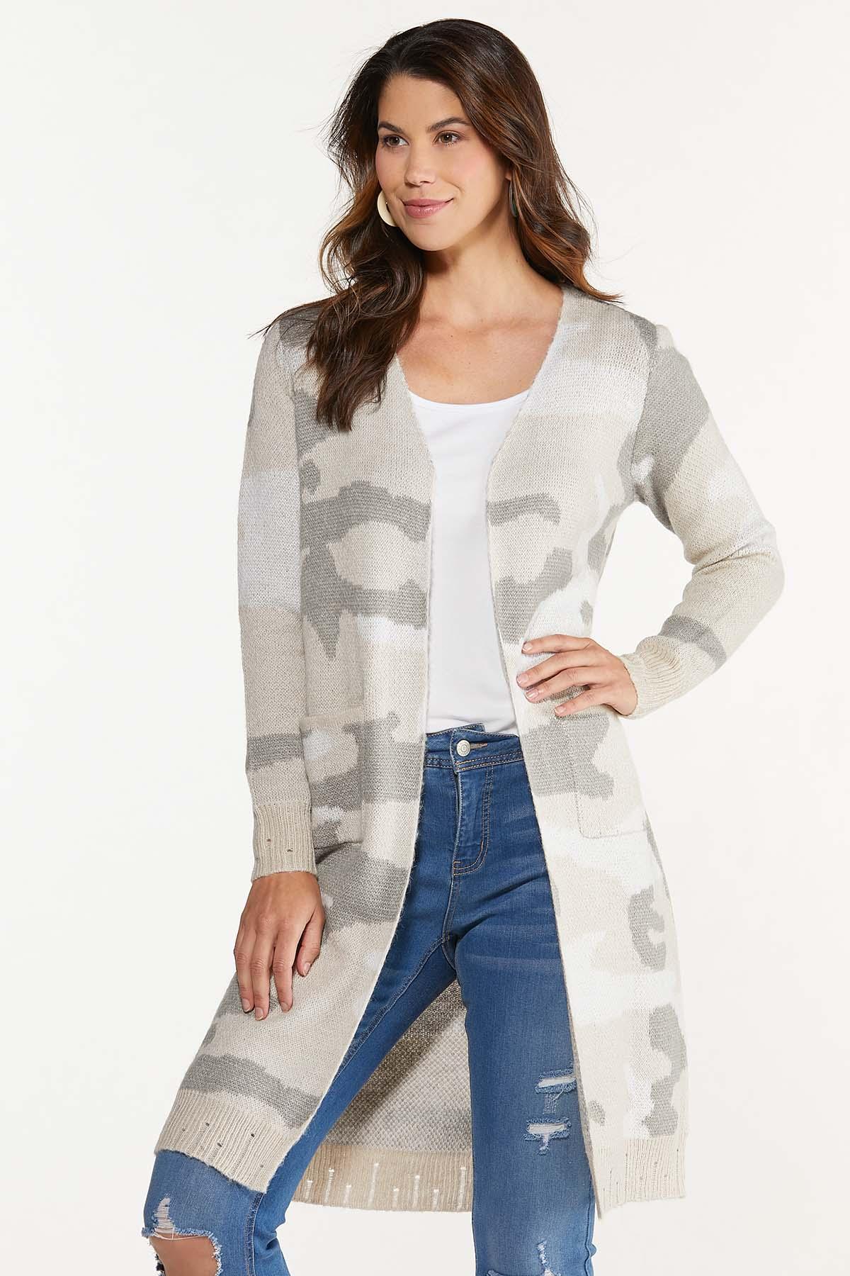 Plus Size Camo Cardigan Sweater (Item #44659154)