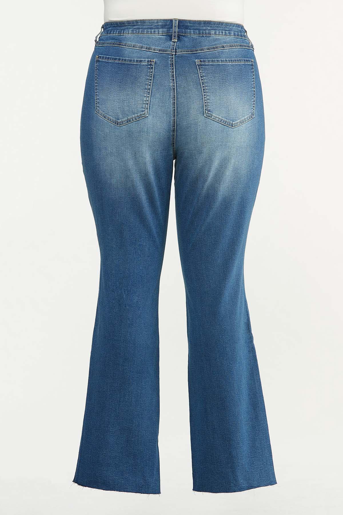 Plus Size Bootcut Raw Hem Jeans (Item #44659179)