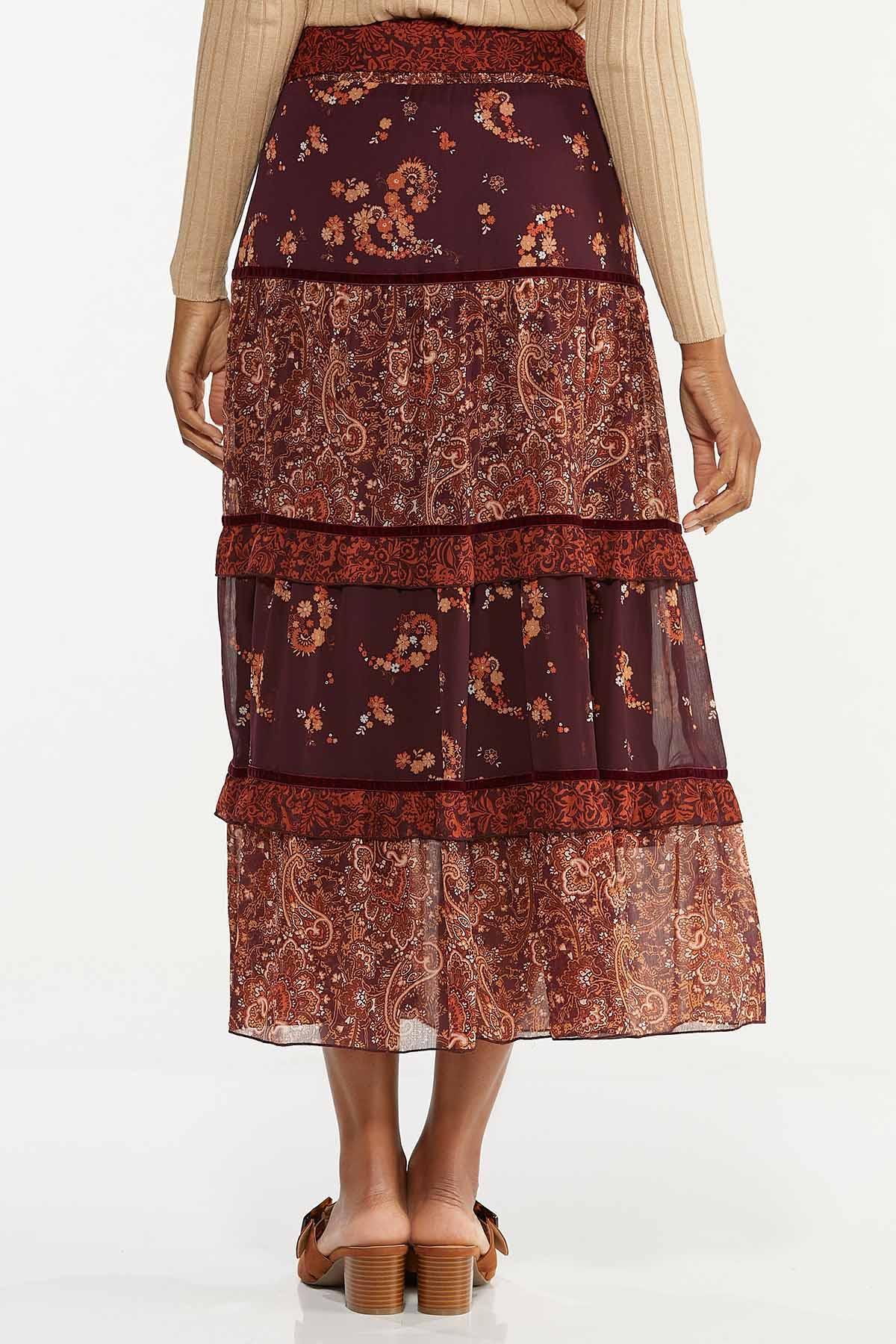 Plus Size Floral Paisley Skirt (Item #44659368)