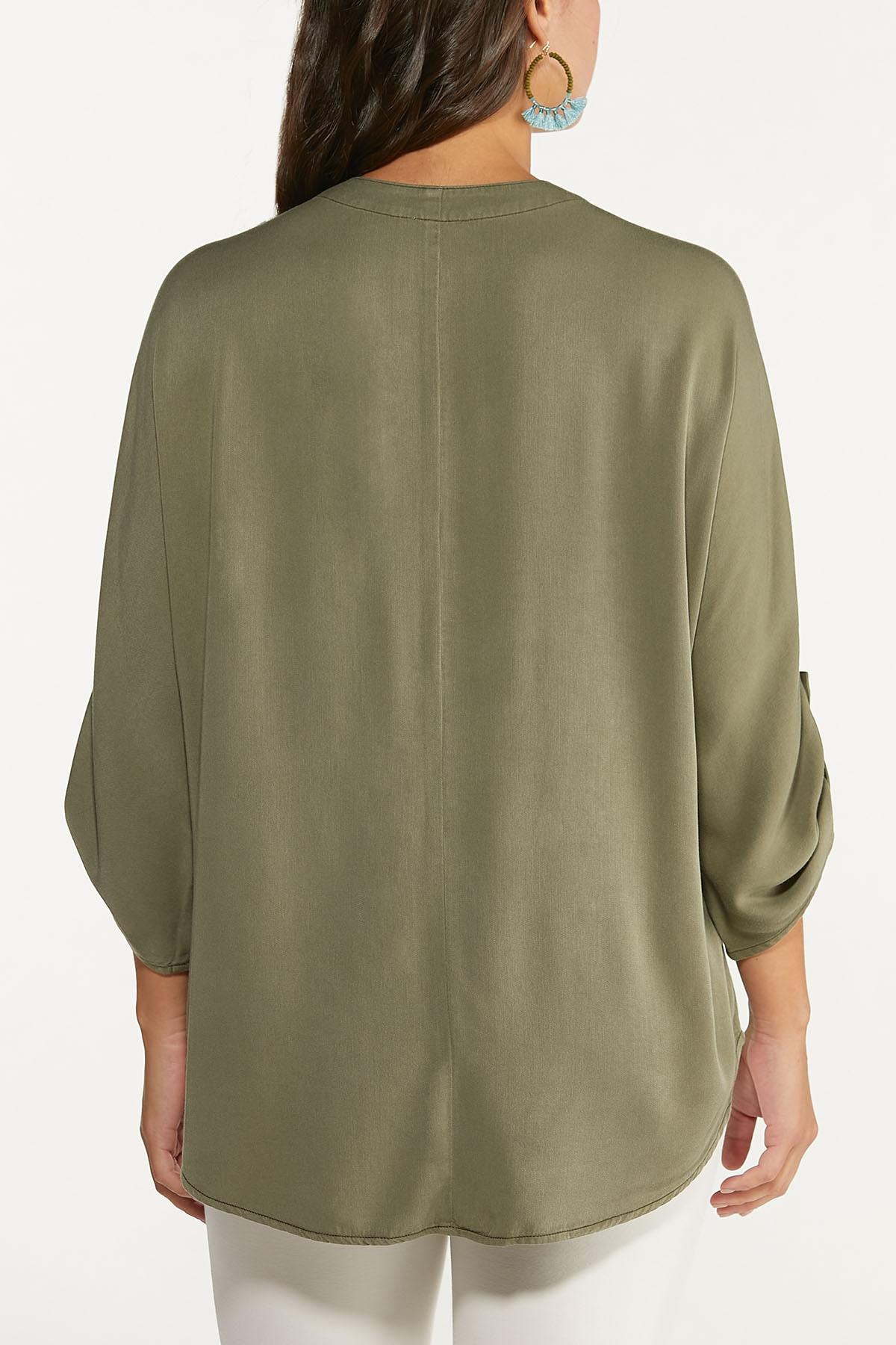 Plus Size Olive High-Low Tunic (Item #44659387)