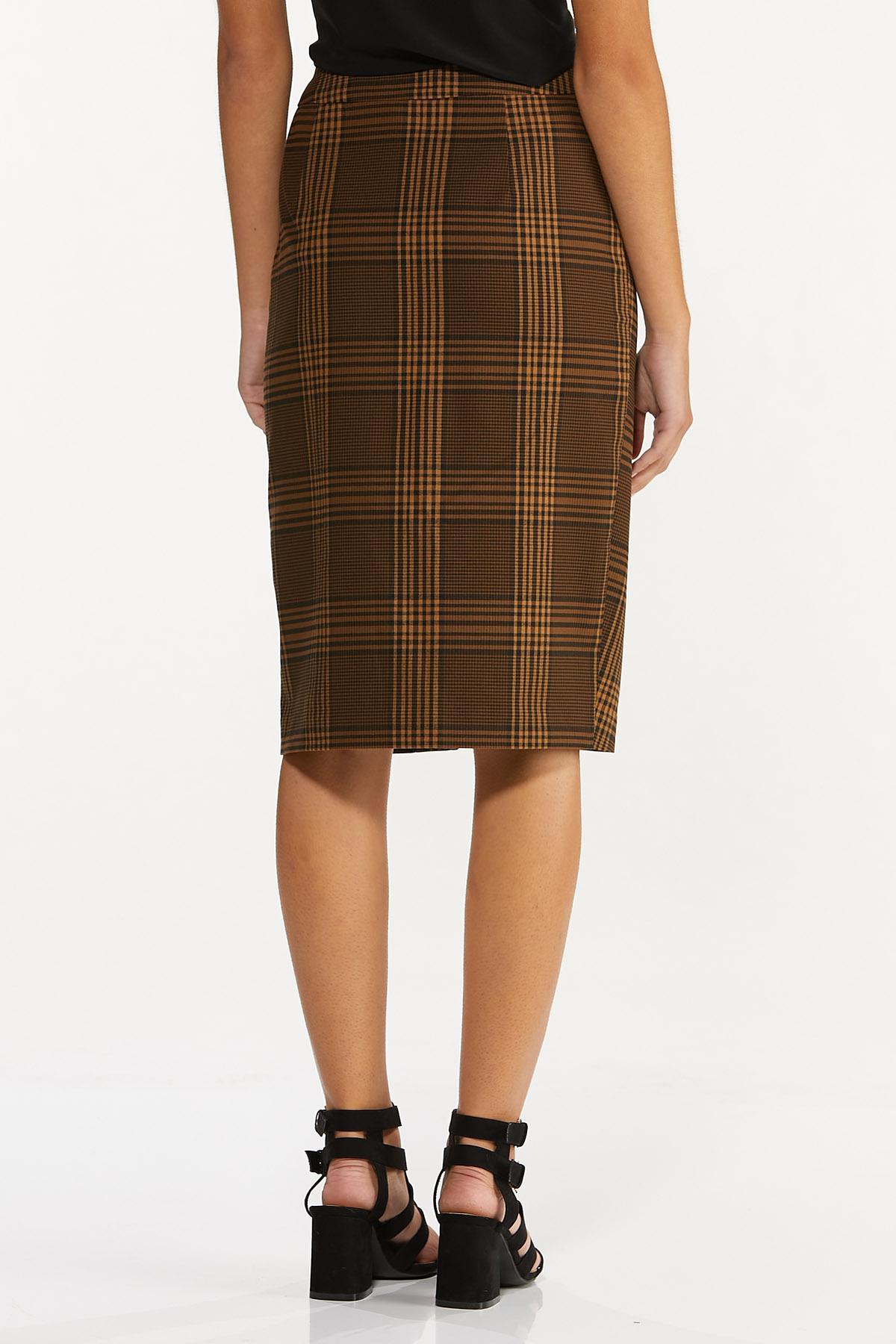 Plus Size Plaid Faux Wrap Pencil Skirt (Item #44659388)