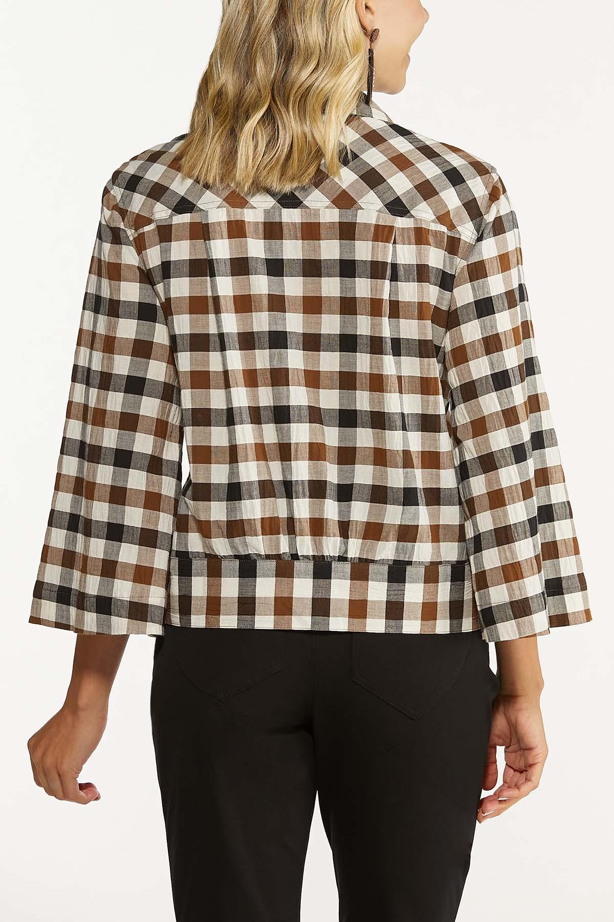 Plus Size Plaid Tie Waist Top (Item #44659672)