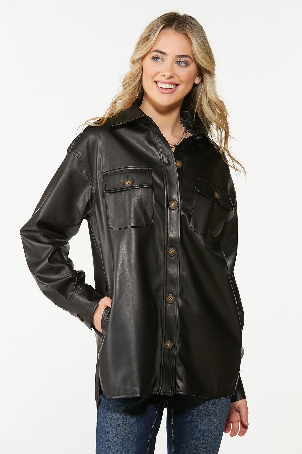 Faux Leather Shacket (Item #44659673)