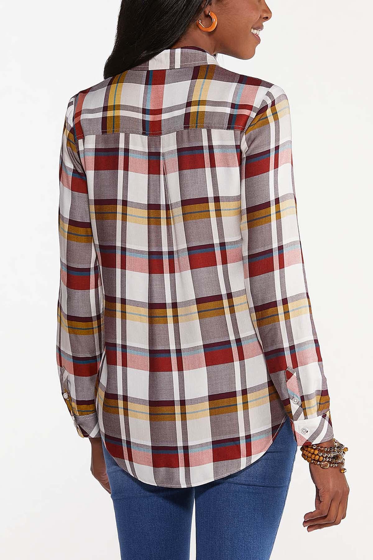 Plus Size Ivory Plaid Shirt (Item #44659934)