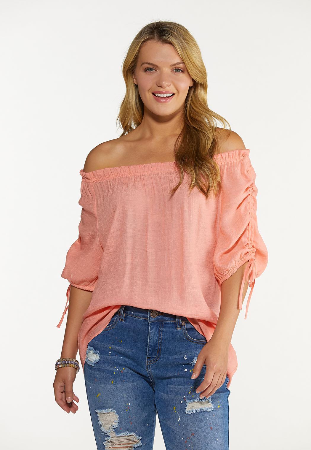 Plus Size Gauzy Cinch Sleeve Top (Item #44660075)