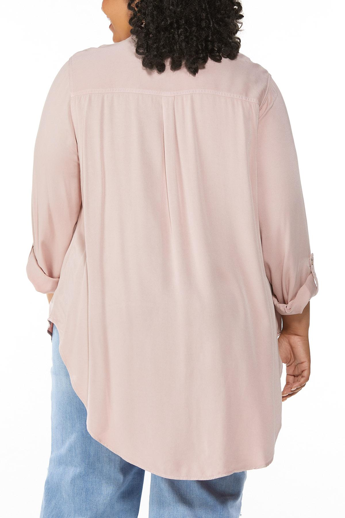 Plus Size Faded Wash Button Down Shirt (Item #44660165)
