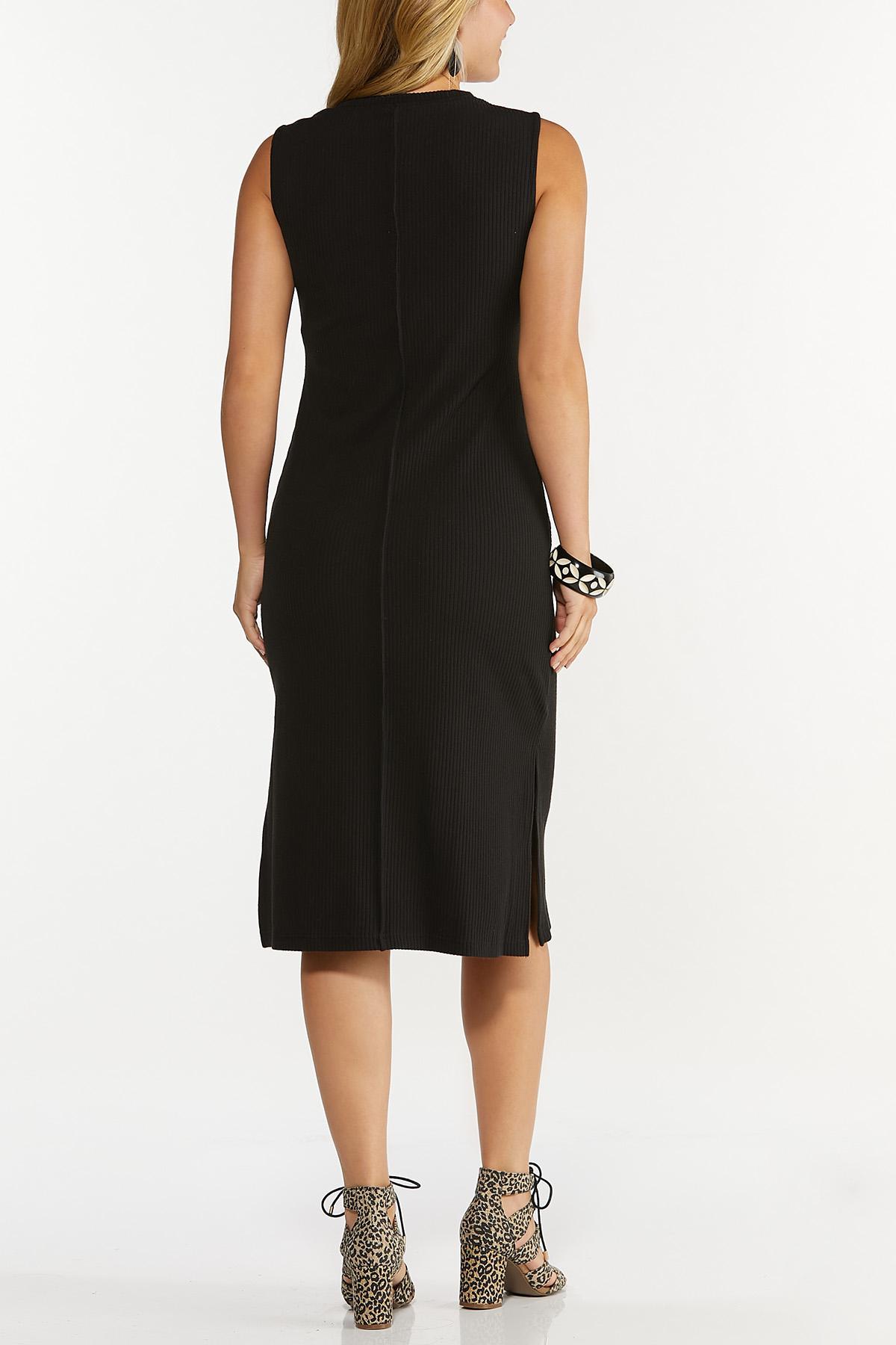 Plus Size Black Ribbed Midi Dress (Item #44660960)