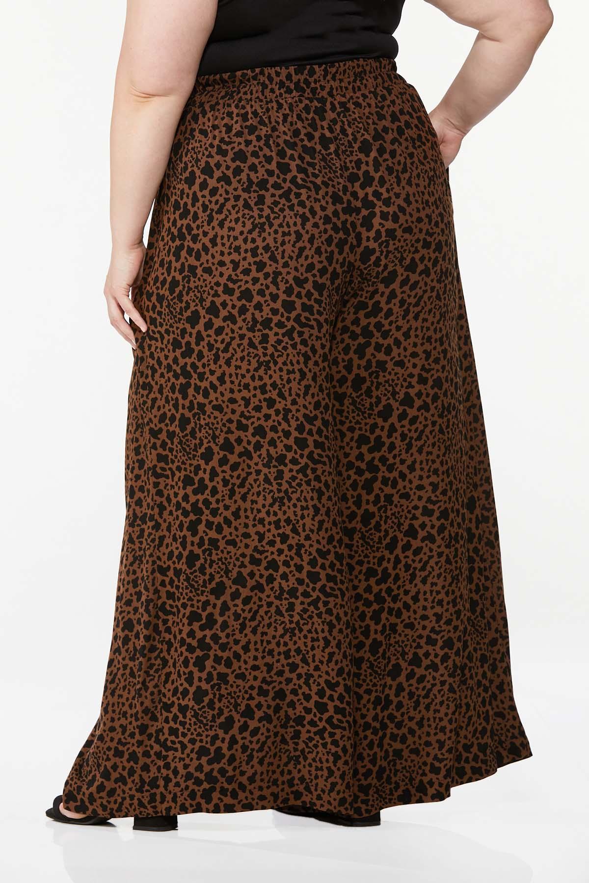 Plus Size Leopard Wide Leg Pants (Item #44661148)