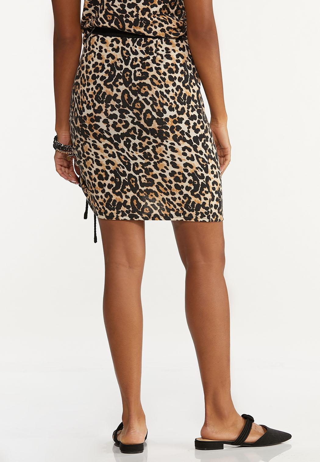 Plus Size Leopard Drawstring Skirt (Item #44661255)