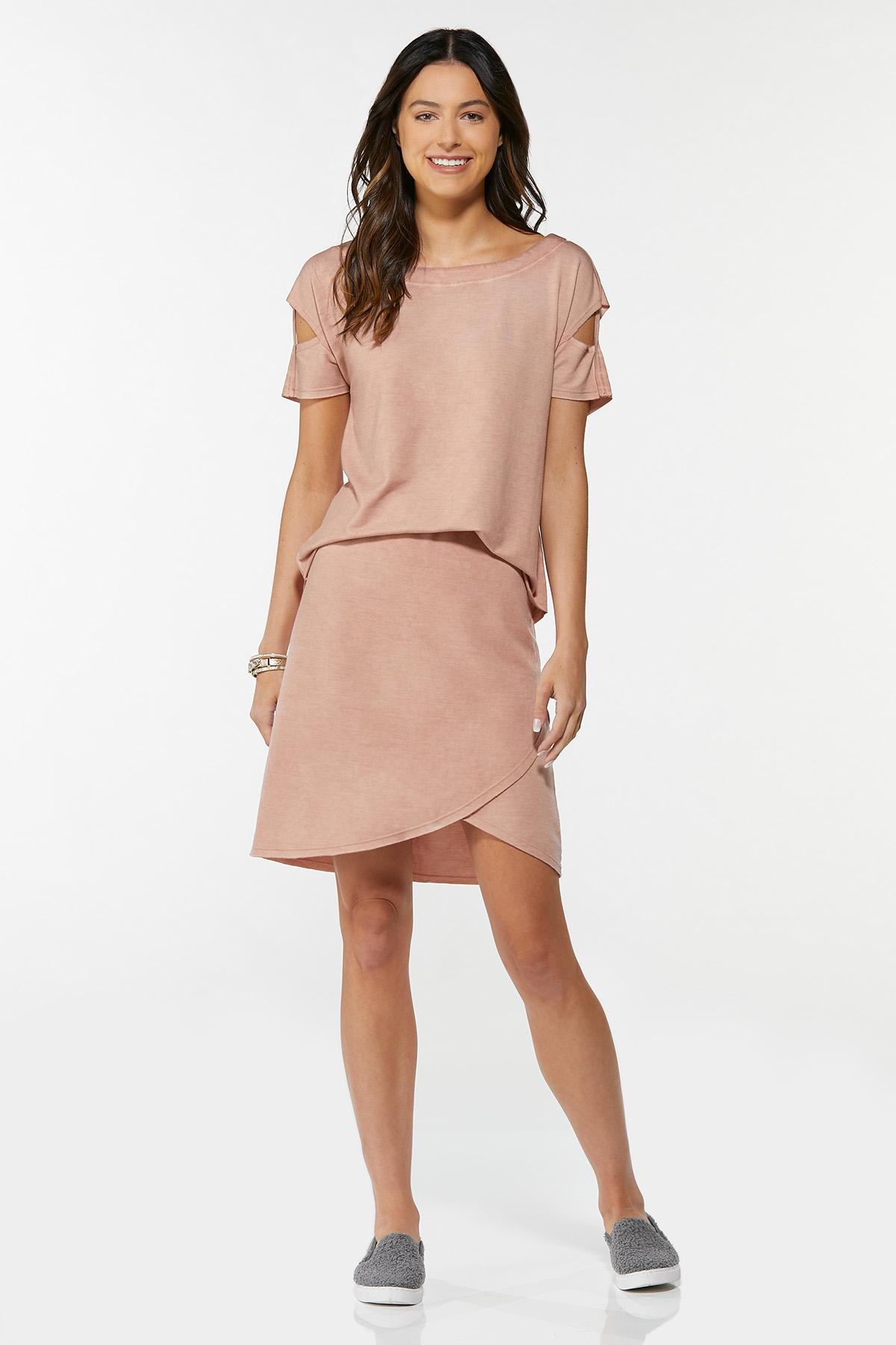 Stretchy Faux Wrap Skirt (Item #44661584)
