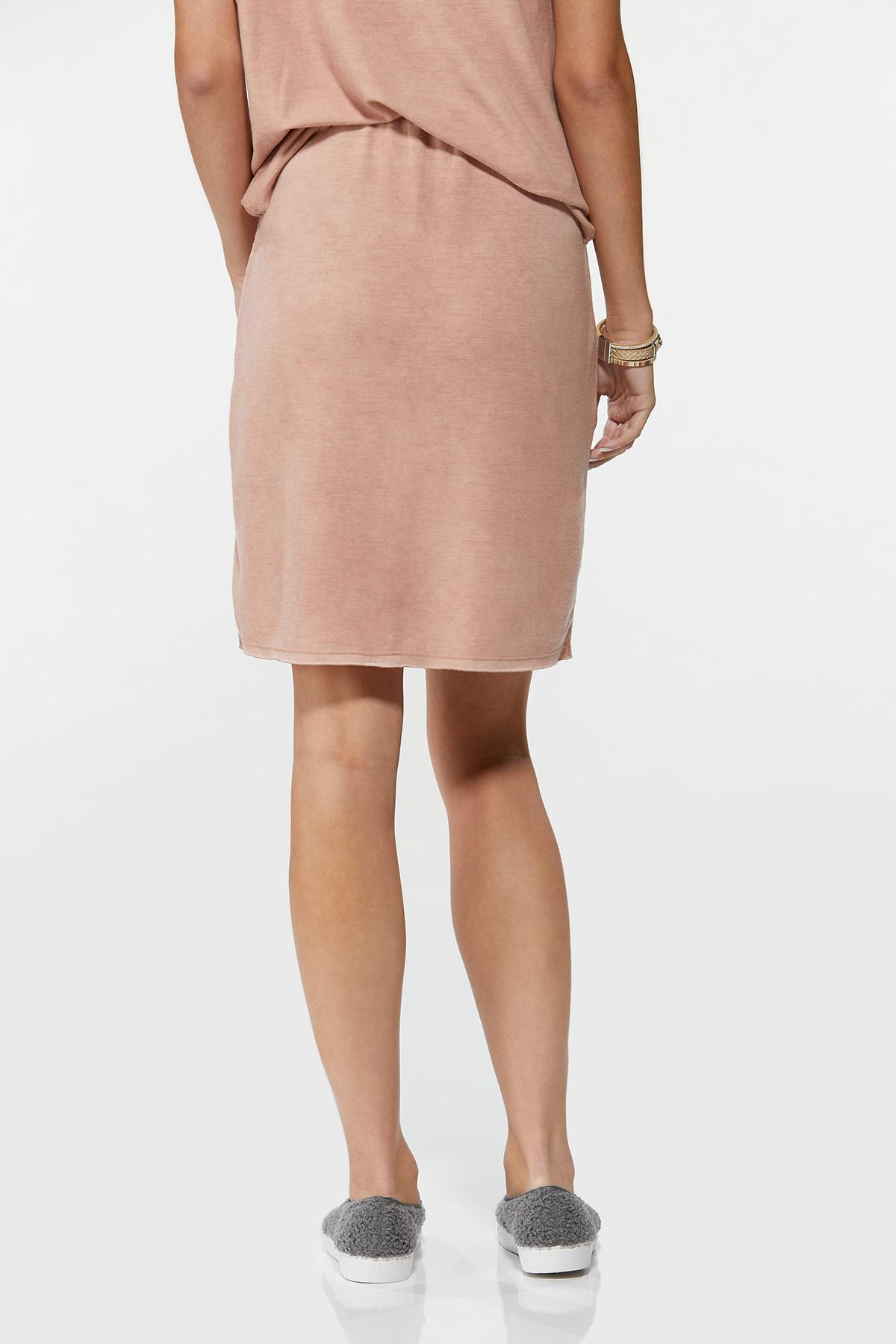 Plus Size Stretchy Faux Wrap Skirt (Item #44661634)