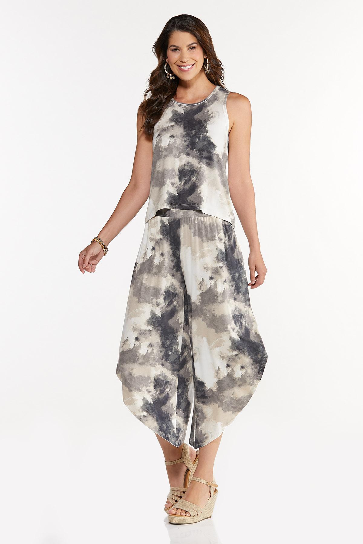 Plus Size Black And White Tie Dye Tank (Item #44661941)