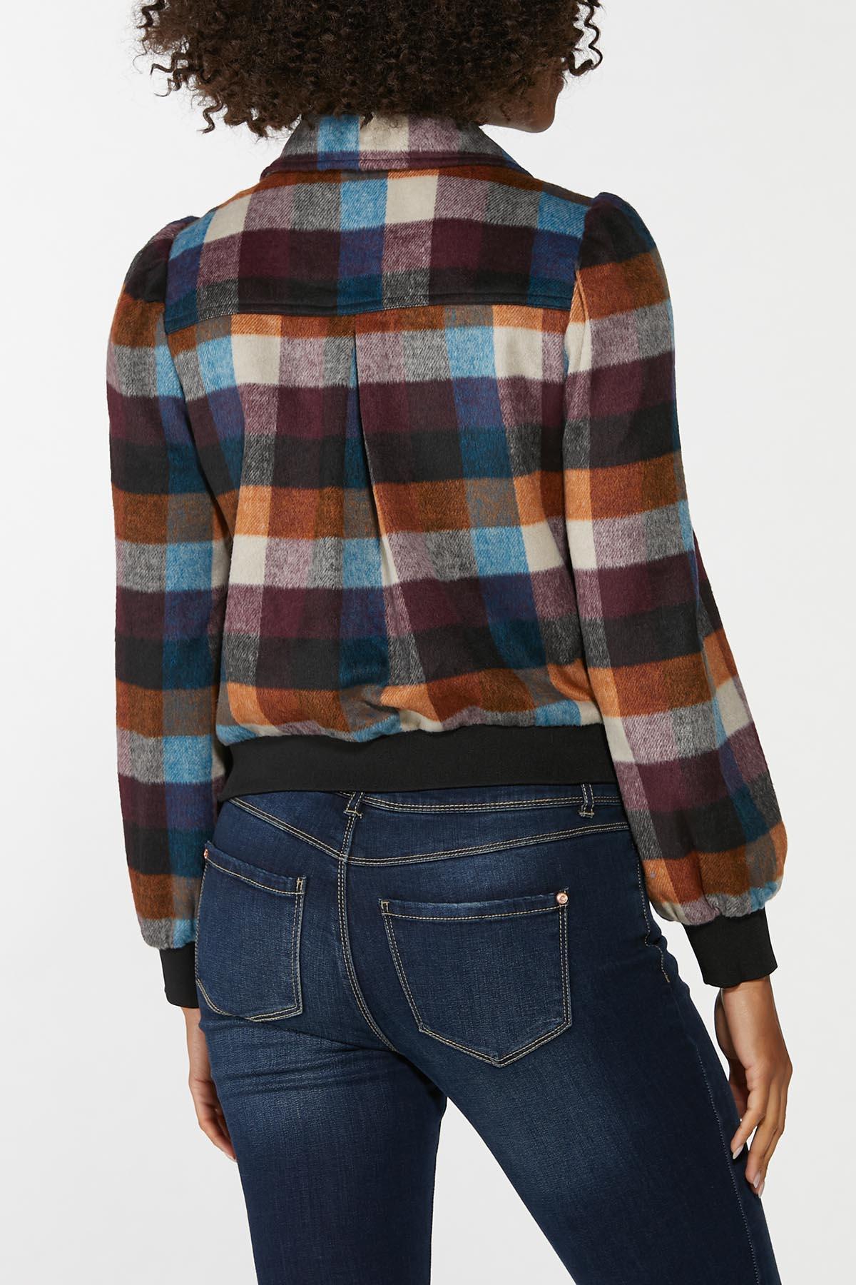 Plus Size Plaid Puff Sleeve Jacket (Item #44662095)
