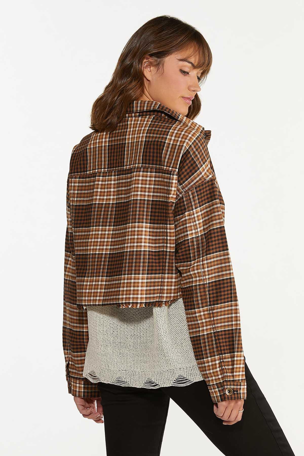 Plus Size Plaid Twill Jacket (Item #44662128)