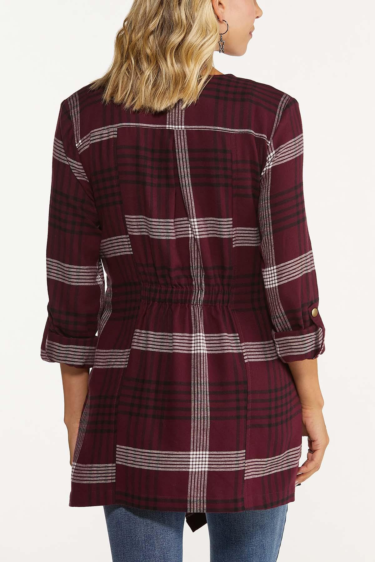 Plus Size Ruched Draped Shirt Jacket (Item #44662229)