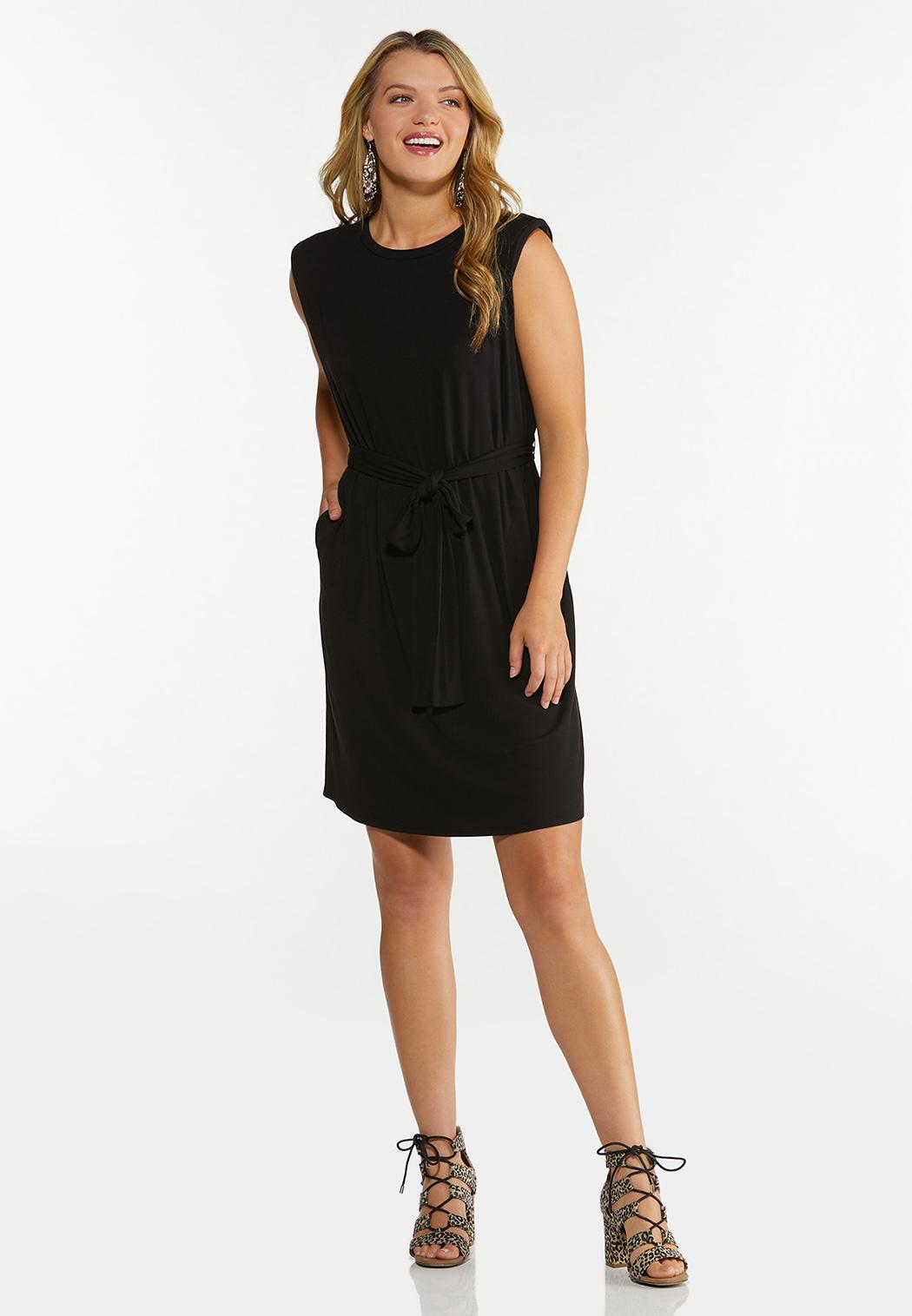Plus Size Black Padded Shoulder Dress (Item #44662323)